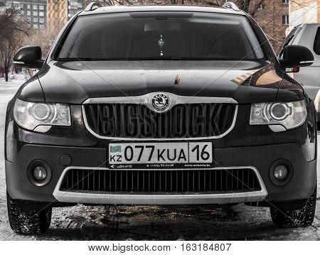 Kazakhstan, Ust-Kamenogorsk, december 15, 2016: Skoda Superb, new car, new czech car in the street, front view