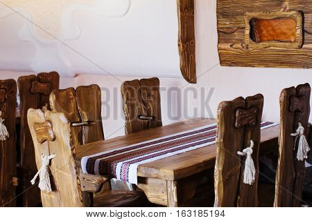 A place to relax with a wooden table and chairs of handwork