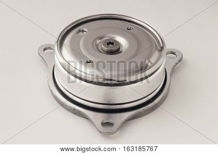 Hard Disk motor close-up isolated on white background.