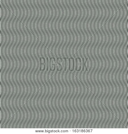 Abstract black and white background of narrow wavy lines