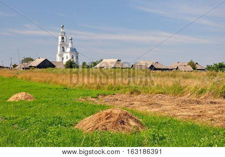 Rural landscape in Central Russia. Hay for animal feed