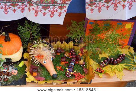 Lugansk, Ukraine - Oktober 11, 2016. Exhibition of children's hand-made articles on a harvest festival at kindergarten. Ukraine.