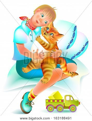 Illustration to the children's tale. Good red cat treats the sick boy. Vector cartoon image.
