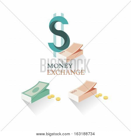 Vector illustration money exchange in flat style. Set of logo momey exchange. Different money and coins