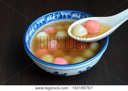 Homemade sweet Chinese tangyuan dessert, eaten for family reunions and special festivals