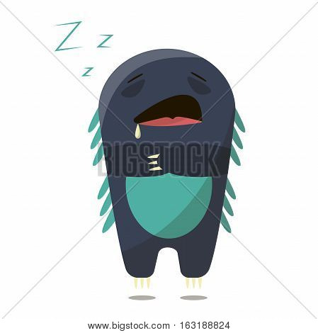 Set of sleepy boring tire monster in a flat style. Colorful sleepy characters
