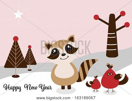 Woodland Raccoon and Friends Happy New Year Greeting