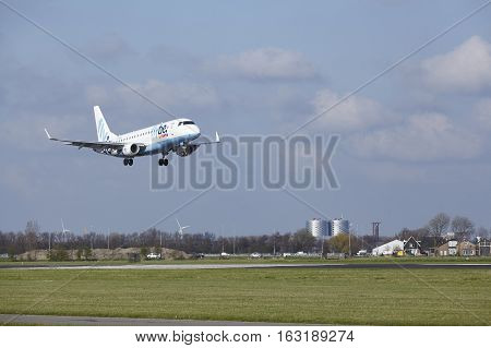 Amsterdam Airport Schiphol - Flybe Embraer 175 Lands