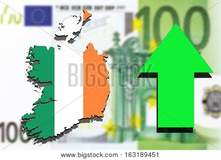 Ireland Map On Euro Money Background And Green Arrow Up