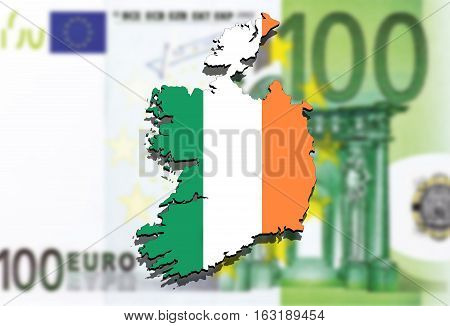 Close Up On Ireland Map On Euro Money Background