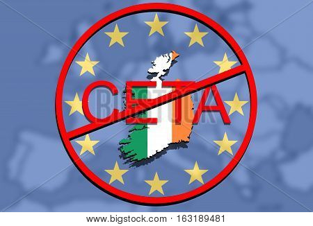 Anty Ceta - Comprehensive Economic And Trade Agreement, Ireland Map