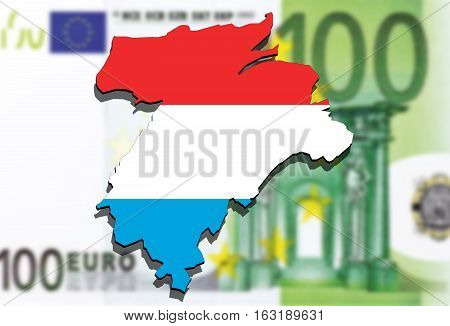 Close Up On Lithuania Map On Euro Money Background,