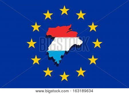 Close Up On Lithuania Map On  Euro Union Background,