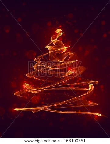 New year christmas fir tree created from fire flame and bokeh. Gift card graphic design or polygraphy