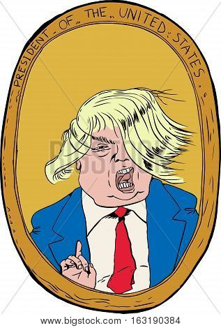 Dec. 27 2016. Caricature portrait of Donald Trump with stray hair extensions blowing in wind