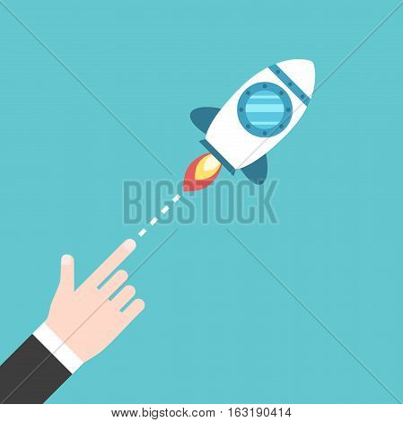 Hand Launching Space Rocket