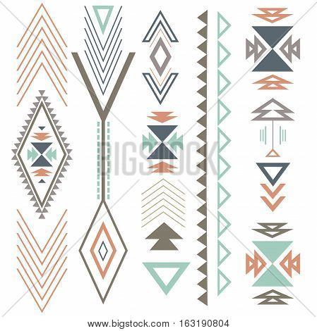 Ethnic boho summer ornament with geometric design elements and arrows. In colour flat design.