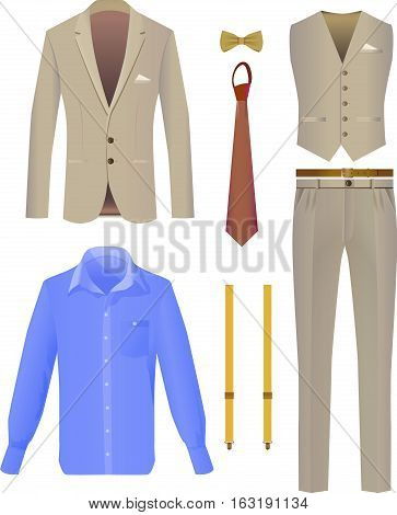 Suit business person on a white background. Vector Image.