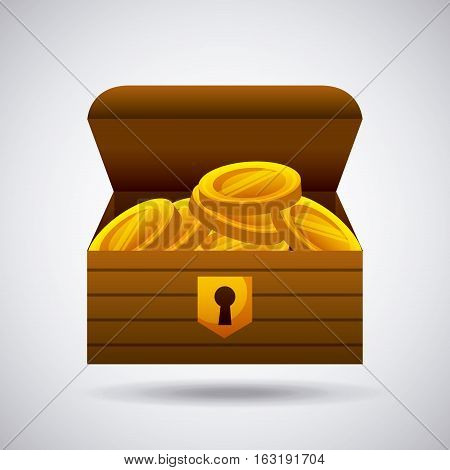 Wooden chest with gold coins icon over white background. colorful design. vector illustration