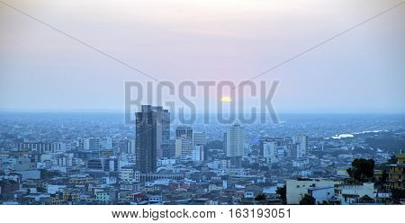 View of an area of the city of Guayaquil, at dusk, from the top of the Santa Ana hill