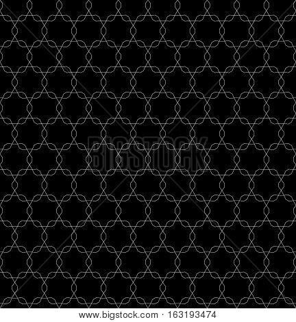 Vector monochrome seamless pattern, repeating geometric tiles, ornamental tracery texture. White shapes on black background. Dark endless texture. Design for tileable print, wrapping, digital, web