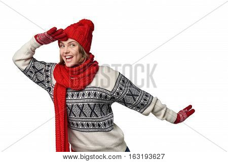 Happy excited winter woman holding palm on forehead observing, over white background