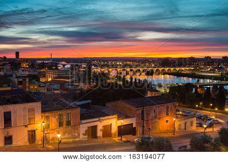 A sunset over Badajoz city, Extremadura, Spain.