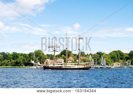 Rostock, Germany - August 2016: three-masted sailing ship Hendrika Bartelds. Hansesail in Warnemuende and Rostock harbor.