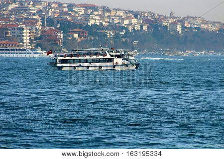 Traditional Istanbul ferryboat in Bosphorus, Istanbul, Turkey