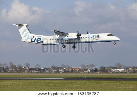 Amsterdam Airport Schiphol - Flybe Bombardier Dash Lands