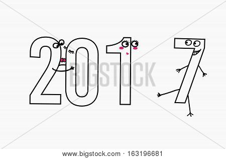 2017 flat line design concept for greeting card and banner. Funny cartoon interpretation for the meeting of the new year, love, vector illustration isolated on white background,