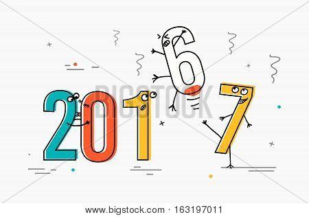 2017 flat line design concept for greeting card and banner. Funny cartoon interpretation to the outgoing 2016. vector illustration isolated on white background,