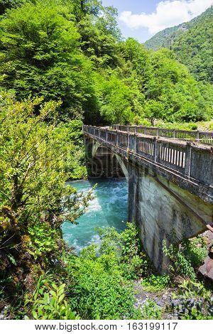 Landscape In Abkhazia With Stone Bridge Over River