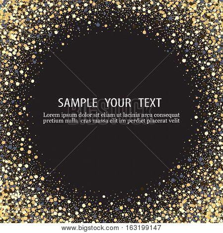 Black background with shiny particles.The gold glitter.The gold flecks Shine in a circle.