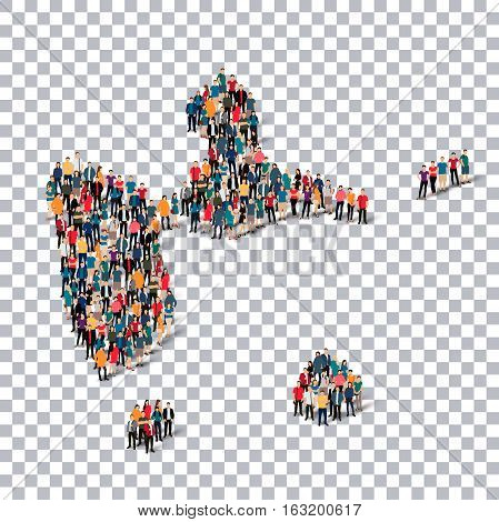 Isometric set of styles, people, map of Guadeloupe, country, web infographics concept of crowded space, flat 3d. Crowd point group forming a predetermined shape. Creative people. Vector illustration. Photo vector.3D illustration. Transparent background .