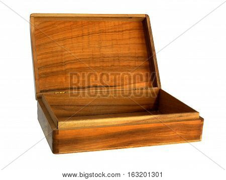 Antique wooden handmade casket or box isolated on white
