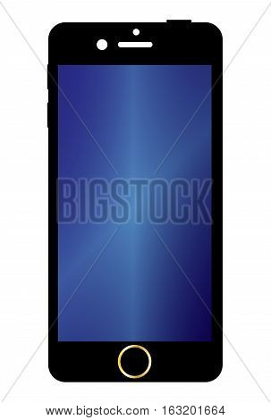 A generic mobile phone with a screen over a white background