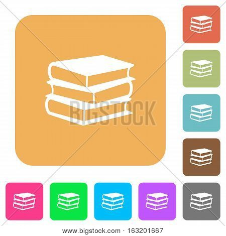 Books icons on rounded square vivid color backgrounds.