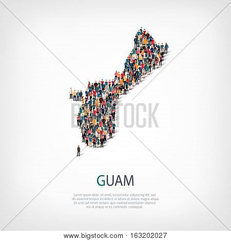 Isometric set of styles, people, map of Guam, country, web infographics concept of crowded space, flat 3d. Crowd point group forming a predetermined shape. Creative people. Vector illustration. Photo vector.3D illustration. White background . Isolated.