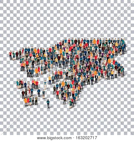 Isometric set of styles, people, map of Guinea Bissau, country, web infographics concept of crowded space, flat 3d. Crowd point group forming a predetermined shape. Creative people. Vector illustration. Photo vector.3D illustration. Transparent background