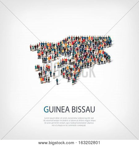 Isometric set of styles, people, map of Guinea Bissau, country, web infographics concept of crowded space, flat 3d. Crowd point group forming a predetermined shape. Creative people. Vector illustration. Photo vector.3D illustration. White background . Iso