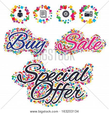 Sale confetti labels and banners. Accounting workflow icons. Human silhouette, cogwheel gear and documents folders signs symbols. Special offer sticker. Vector