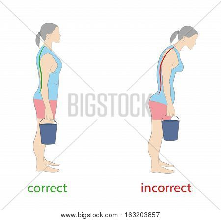 correct and incorrect posture woman bucket. medical advice not to injure the spine. vector illustration.