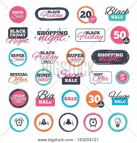 Sale shopping stickers and banners. Alarm clock icons. Wake up bell signs symbols. Exclamation mark. Website badges. Black friday. Vector