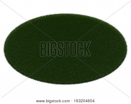 Grassy oval board for text on white background. Isolated digital illustration. 3d rendering