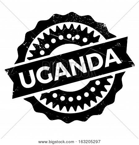 Uganda stamp. Grunge design with dust scratches. Effects can be easily removed for a clean, crisp look. Color is easily changed. rubber grunge