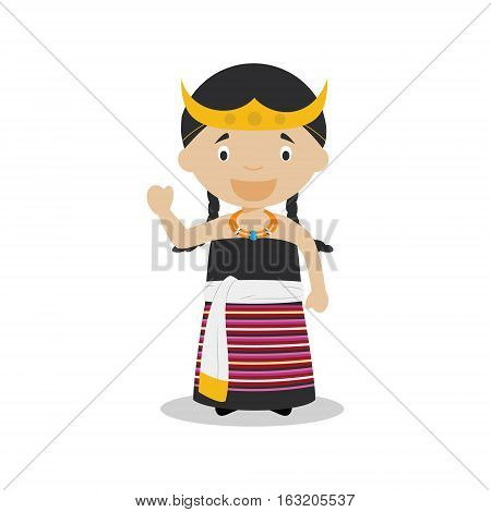 Character from East Timor dressed in the traditional way Vector Illustration. Kids of the World Collection.