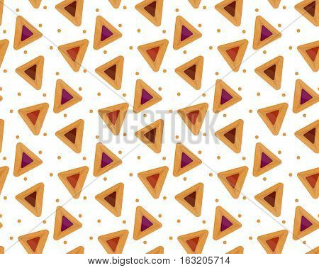 Purim hamantaschen seamless pattern. Jewish traditional dish on the holiday of Purim. endless background, texture, wallpaper. Vector illustration