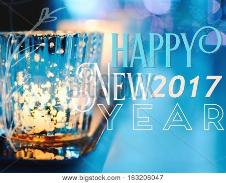 2017 Inspiring Happy New Years or NYE party wishes 2017 for happiness and success greeting card non denominational with beautiful candles burning with sparking crystal and gold reflections and written words