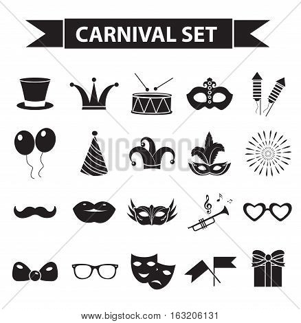 Carnival icon set, black silhouette style. Party, masquerade collection signs, symbols, isolated on white background. Vector illustration clip-art